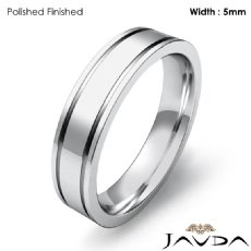 Flat Fit Solid Ring Mens Wedding Plain Band 5mm Platinum 950 8.9g 4