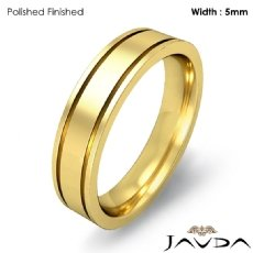 Flat Fit Solid Ring Mens Wedding Plain Band 5mm 18k Gold Yellow 6.7g 4