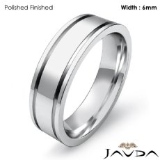 Mens Wedding Solid Band 14k White Gold Flat Fit Plain Ring 6mm 6.7g 4sz