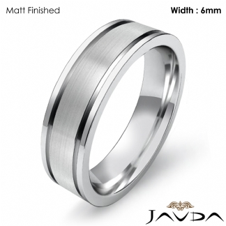 mens wedding solid band platinum 950 flat fit plain ring 6mm 143g 11 1175 - Mens Wedding Rings Platinum