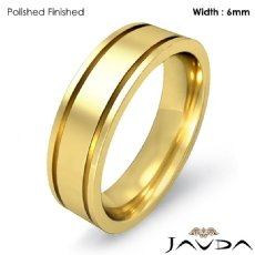 Mens Wedding Solid Band 18k Gold Yellow Flat Fit Plain Ring 6mm 7.9g 4