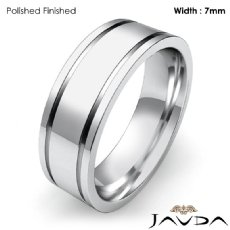 Flat Fit Plain Ring Mens Wedding Solid Band 7mm Platinum 950 12.4g 4
