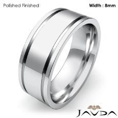 9mm Mens Wedding Solid Band Flat Fit Plain Ring Platinum 950 13.9g 4