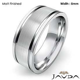 8mm Mens Wedding Solid Band Flat Fit Plain Ring 14k White Gold 8.7g 4sz