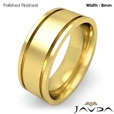 9mm Mens Wedding Solid Band Flat Fit Plain Ring 18k Gold Yellow 10.3g 4