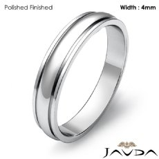 Mens Solid Wedding Band 14k White Gold Dome Step Plain Ring 4mm 2.9g 4sz