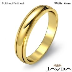 Mens Solid Wedding Band 18k Gold Yellow Dome Step Plain Ring 4mm 3.6g 4