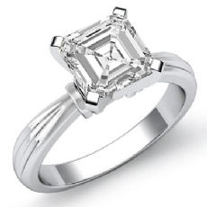 Ridged Solitaire Asscher diamond  Ring in 14k Gold White