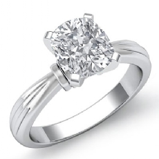 solitaire Pinched Shank Cushion diamond engagement Ring in Platinum 950