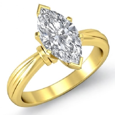 Ridged Solitaire Marquise diamond  Ring in 14k Gold Yellow
