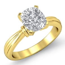 solitaire Pinched Shank Cushion diamond engagement Ring in 14k Gold Yellow
