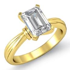 Ridged Solitaire Emerald diamond  Ring in 14k Gold Yellow