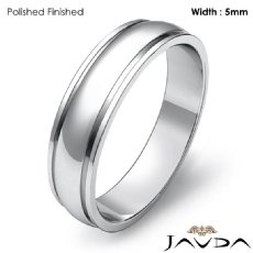 Plain Dome Step Ring Mens Wedding Solid Band 5mm 14k White Gold 3.7g 4sz