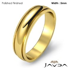 Plain Dome Step Ring Mens Wedding Solid Band 5mm 18k Gold Yellow 4.5g 4