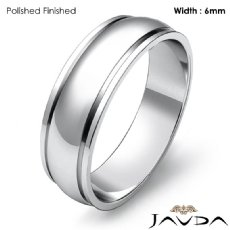 6mm Mens Wedding Solid Band Dome Step Plain Ring Platinum 950 6.9g 4