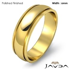6mm Mens Wedding Solid Band Dome Step Plain Ring 18k Gold Yellow 5.2g 4