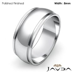 Mens Plain Wedding Solid Band Dome Step Ring 8mm Platinum 950 9.3g 4