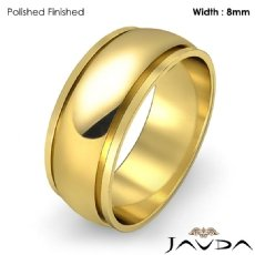 Mens Plain Wedding Solid Band Dome Step Ring 8mm 18k Gold Yellow 6.9g 4