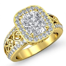 Filigree Shank Vintage Halo Cushion diamond engagement Ring in 14k Gold Yellow