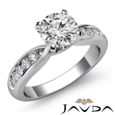 Classic Sidestone Channel Round diamond engagement Ring in 14k Gold White