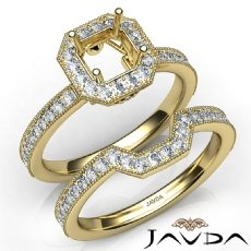Pave Diamond Engagement Ring Asscher Bridal Set 14k Gold Yellow Semi Mount  (1Ct. tw.)