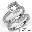 Pave Diamond Engagement Ring Asscher Bridal Set 14k White Gold Semi Mount 1Ct - javda.com