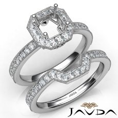Pave Diamond Engagement Ring Asscher Bridal Set 14K White Gold Semi Mount 1Ct