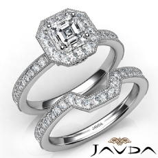 Milgrain Bezel Set Bridal Asscher diamond engagement Ring in 14k Gold White