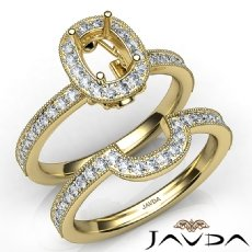Pave Diamond Engagement Ring Cushion Bridal Set 14k Gold Yellow Semi Mount  (1Ct. tw.)
