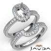 Pave Diamond Engagement Ring Cushion Bridal Set 14k White Gold Semi Mount 1Ct - javda.com