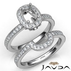 Pave Diamond Engagement Ring Cushion Bridal Set 14K White Gold Semi Mount 1Ct