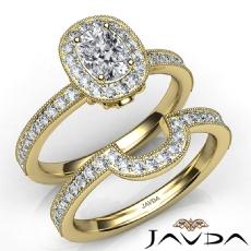 Milgrain Bezel Bridal Set Cushion diamond engagement Ring in 14k Gold Yellow