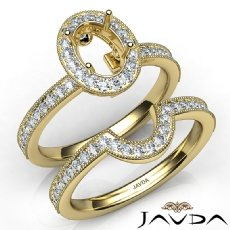 Diamond Engagement Ring Oval Halo Pave Bridal Set 14k Gold Yellow Semi Mount  (1Ct. tw.)