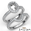 Diamond Engagement Ring Oval Halo Pave Bridal Set 14k White Gold Semi Mount 1Ct - javda.com