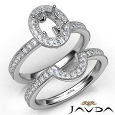Diamond Engagement Ring Oval Halo Pave Bridal Set 14K White Gold Semi Mount 1Ct