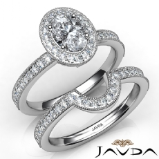 Milgrain Halo Pave Bridal Oval diamond engagement Ring in 14k Gold White