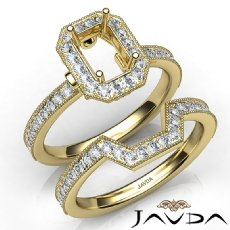Pave Diamond Engagement Ring Emerald Bridal Set 14k Gold Yellow Semi Mount  (1Ct. tw.)