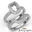 Pave Diamond Engagement Ring Emerald Bridal Set 14k White Gold Semi Mount 1Ct - javda.com