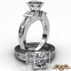 Channel Set Shank Prong Princess diamond engagement Ring in 14k Gold White