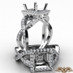 Diamond Engagement Princess Semi Mount Ring Split-Curve Shank 14k White Gold 0.68Ct - javda.com