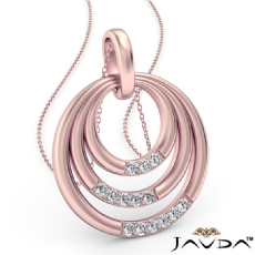 Triple Circle Pendant Necklace 18 Inch Chain In 14k Rose Gold  Diamond (0.18Ct. tw.)