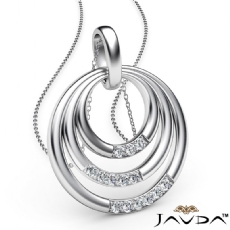 Triple Circle Pendant Necklace 18 Inch Chain In 14k White Gold 0.18Ct Diamond