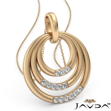 Triple Circle Pendant Necklace 18 Inch Chain In 14k Gold Yellow  Diamond (0.18Ct. tw.)