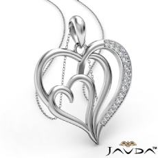 Triple Heart Pendant Necklace In 18k Gold White Round Diamond  (0.25Ct. tw.)