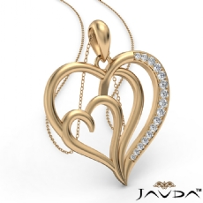 Triple Heart Pendant Necklace In 14k Gold Yellow Round Diamond  (0.25Ct. tw.)