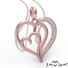 Triple Heart Pendant Necklace In 14k Rose Gold Round Diamond  (0.25Ct. tw.)