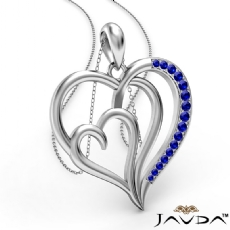 Triple Heart Pendant Necklace In 18k Gold White Round Sapphire <Dcarat>