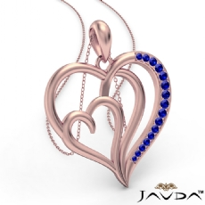 Triple Heart Pendant Necklace In 14k Rose Gold Round Sapphire <Dcarat>