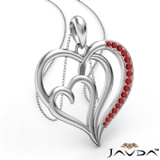Triple Heart Pendant Necklace In 18k Gold White Round Ruby <Dcarat>