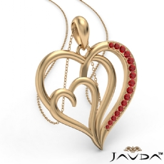 Triple Heart Pendant Necklace In 14k Gold Yellow Round Ruby <Dcarat>